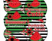 Bottle Cap Images - Watermelon Cutie  - 1 inch circles
