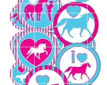 Bottle Cap Image Horses 1 inch Circles I love horses  Images image sheet  Bow Supplies