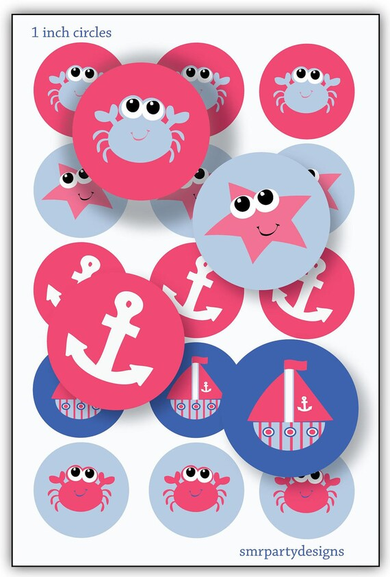 Instant Download Bottle Cap Image Sea Pink Ocean Sea creatures  1 inch circles