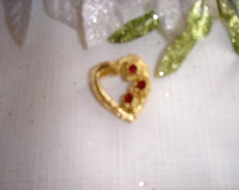 Golden Heart With Red Rhinestones