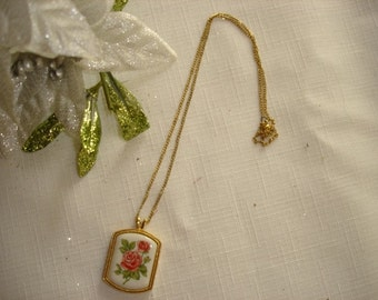 Vintage Avon Rose Pendent