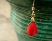 simple red coral drop earrings.