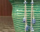 kyanite and silver dangle earrings.