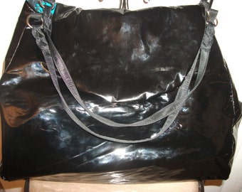 Black Shinning Faux Patent Leather