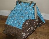 CUSTOM ORDER for Kimberly Western Cowboy Baby Car Seat Canopy Cover Blue Brown