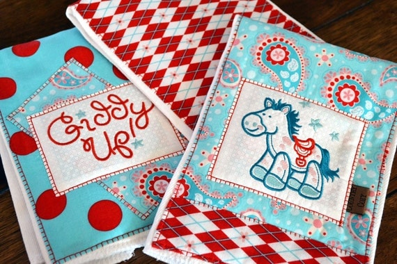 Western Cowgirl Baby Burp Cloths Set of 3