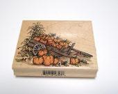 Harvest Pumpkins in a Wheelbarrow Rubber Stamp