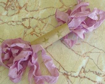 LOVELY LILAC Purple Shabby  RIBBON crinkled vintage seam binding