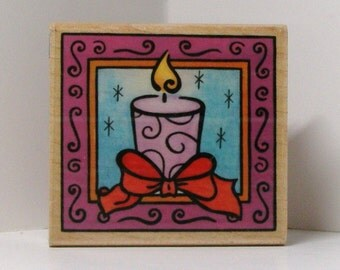 Candle Square Rubber Stamp