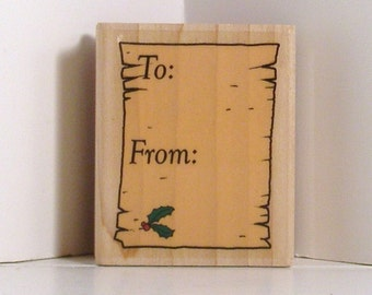 TO FROM Vintage Holiday Tag Rubber Stamp