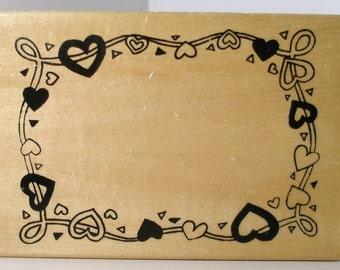 Large HEART FRAME Rubber Stamp
