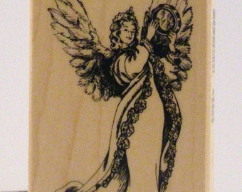 RARE Angel with Tambourine rubber stamp PSX
