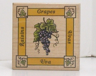 GRAPES Label Rubber Stamp