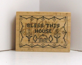 PSX Bless This House Vintage Cross Stitch Sampler Rubber Stamp