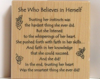 PSX She Who Believes in Herself RARE POEM Rubber Stamp