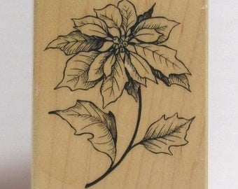 Single Poinsettia Bloom Rubber Stamp PSX
