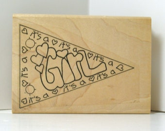 It's A Girl Banner Rubber Stamp