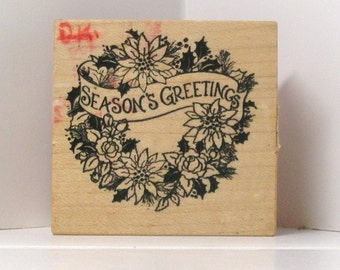 PSX Season's Greetings Poinsettia and Roses Wreath Rubber Stamp