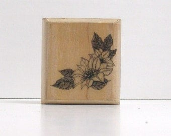 Poinsettia CORNER Rubber Stamp