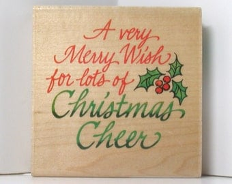 Christmas Cheer round saying Rubber Stamp