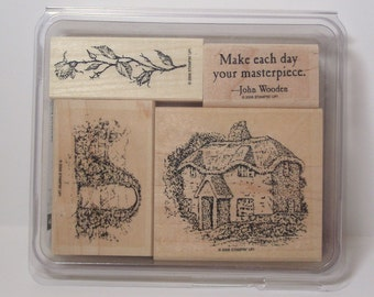 Retired Stampin Up WOODLAND COTTAGE Rubber Stamps