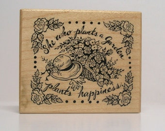 PSX She who plants a Garden plants Kindness Rubber Stamp basket of flowers