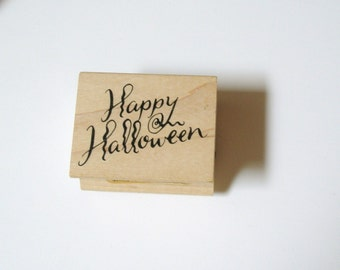 HAPPY HALLOWEEN Wood Mounted Rubber Stamp