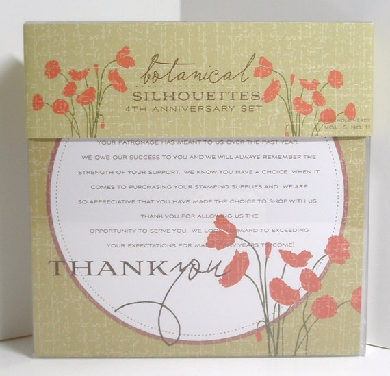 Brand New PAPERTREY INK Anniversary botanical silhouettes Acrylic Stamp Set