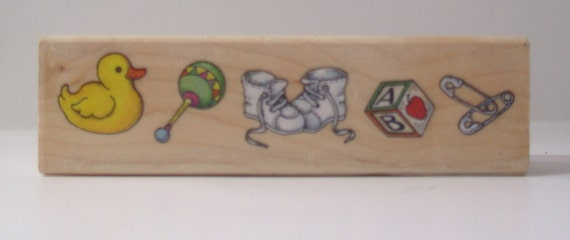 duck rattle block pins Baby Border Rubber Stamp