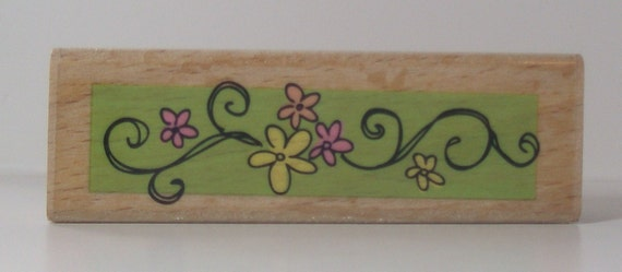Swirly FLOWER BORDER Rubber Stamp