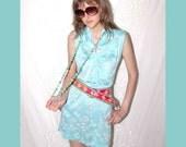 Oriental Flare Mini Vintage Dress S Sweet oriental inspired Micro mini belted cute summery