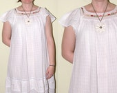 Mexican Crochet Floral  Peasant Vintage Dress  XL 1X