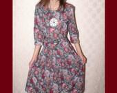 Stuart Allen Petites Roses Floral Op Art Vintage Dress S