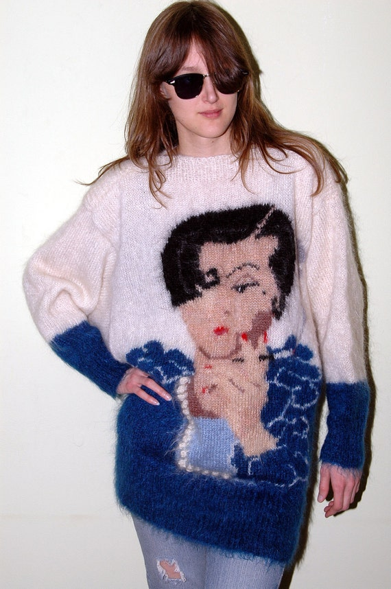 Super Fuzzy 80s 90s Mohair Pretty Lady Marshall Fields Sweater M L XL Embellished