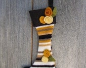 Mini Stocking Ornament-Gold Striped