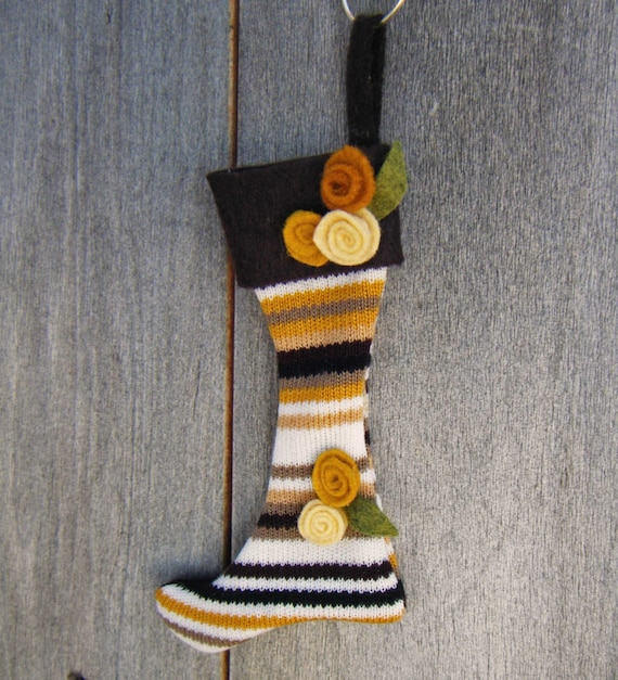 Mini Stocking Ornament-Gold Striped