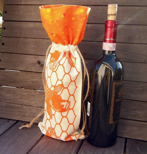 Orange Koi Print Reusable Canvas Gift Bag