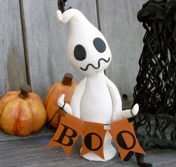 Ships Next Day--Halloween Ghost with Boo Garland No. 48