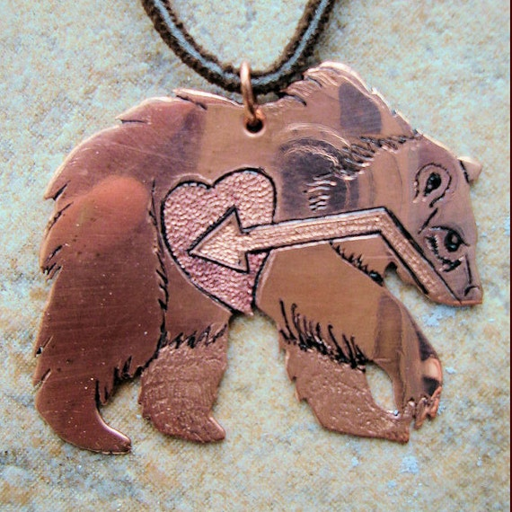 Engraved Copper Bear Necklace