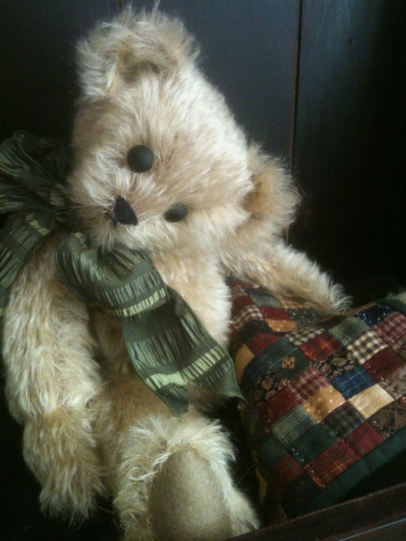 """Patience with """"Blankie"""" , OOAK  Antique Style Mohair Artist Bear"""