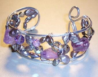 Amethyst Nuggets, Shades of Lavender Pearls, Sterling Silver Bracelet