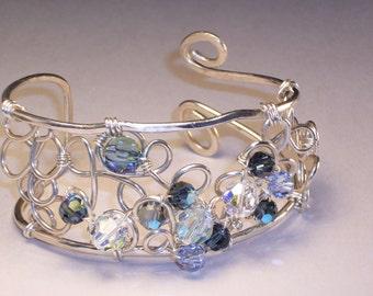 Bracelet, Cuff, Sterling Silver, Crystal Lace, Swarovski Crystals