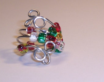 Ring, Worry  Beads, Multi Colored Glass with Sterling Silver