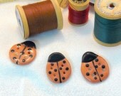 Ceramic Hand Shaped Lady Bug Buttons