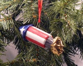 Ceramic Christmas Ornament Patriotic Rocket