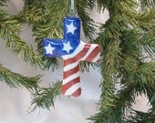 Ceramic Christmas Ornament Patriotic Cross