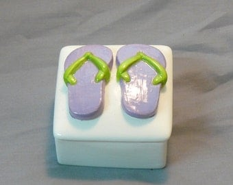 Ceramic Flip Flop Keepsake Box Purple Lime Green