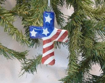 Ceramic Christmas Ornament Patriotic Cross