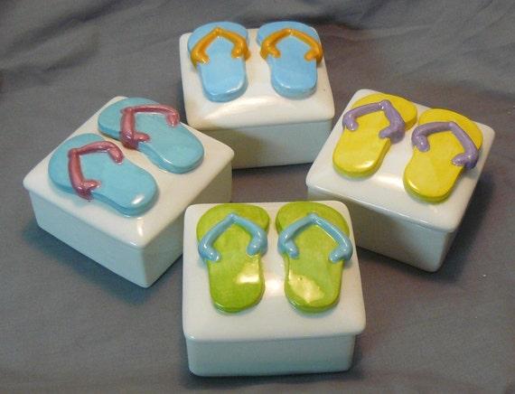 Ceramic Keepsake Box - Customizable Flip Flop Ceramic Keepsake Boxes-Set of 4