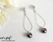 Mother's Day Free Shipping - Little Treasure Earrings - Black Baroque Fresh Water Pearl
